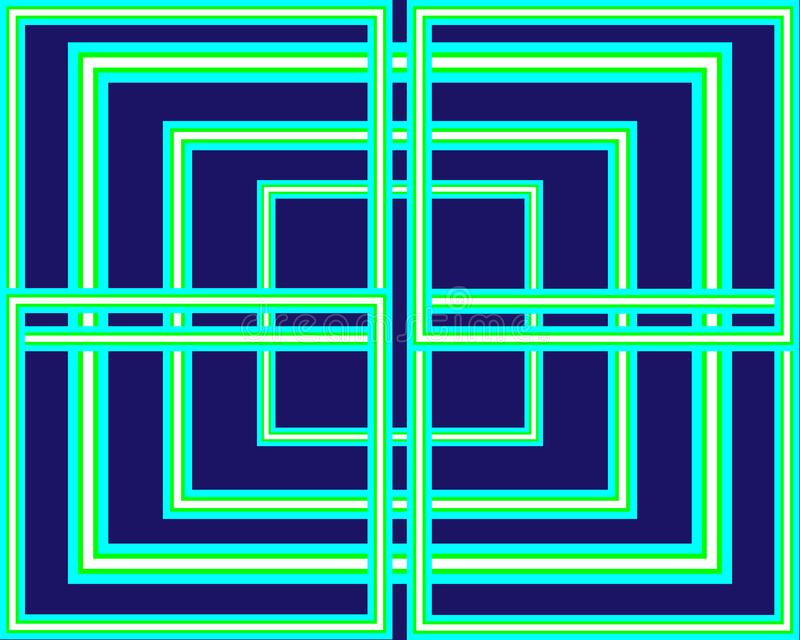 Muster stellte hellgrüne Neonquadrate auf blauem Hintergrund ein stock abbildung