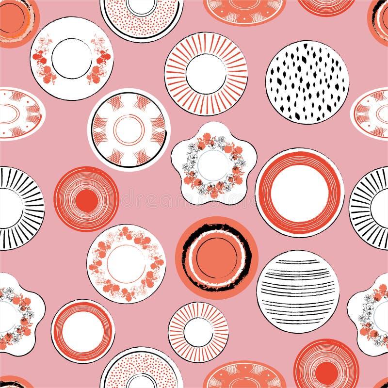 Muster-Vektorillustration der weißen und orange Porzellanschalen der grafische Handgezogenen Bürste nahtlose Entwurf für Mode, Ge stock abbildung
