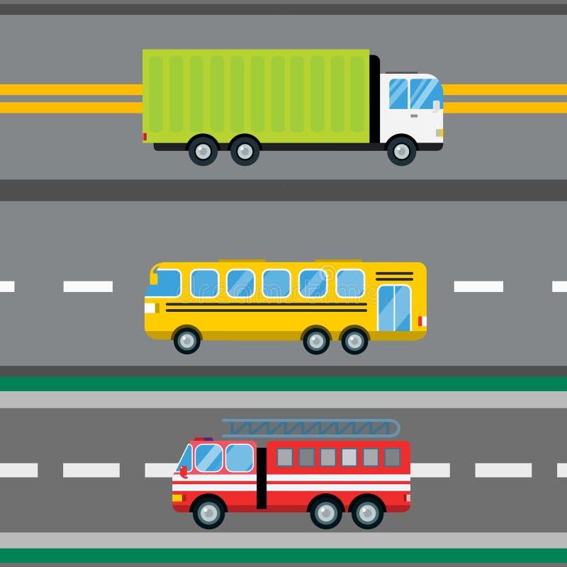 Muster-Vektorillustration des Löschfahrzeugautokarikaturlieferungstransportfrachtbusses logistische nahtlose vektor abbildung