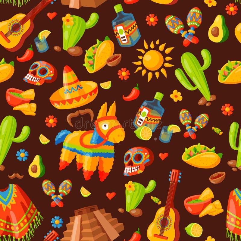 Muster-Vektorillustration Mexiko-Ikonen nahtlose stock abbildung