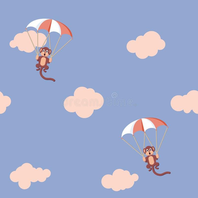 Muster von Affen mit Fallschirm lizenzfreie abbildung
