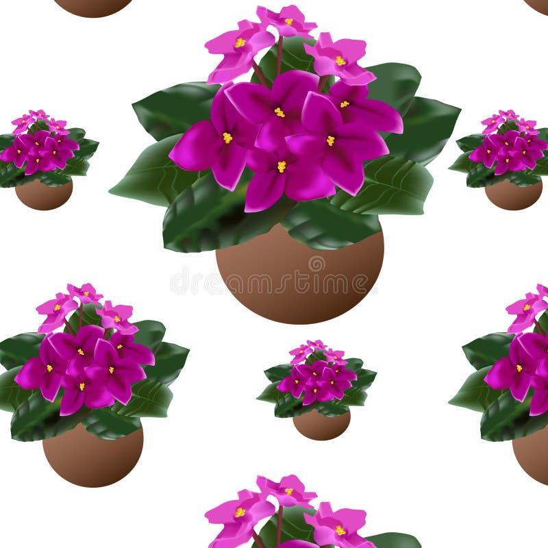 Muster von Blumensträußen von Blumen in den Töpfen stockbilder