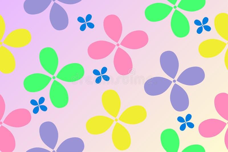 Muster von bunten Blumen auf einem Steigungshintergrund für den Entwurf der Sachen der Kinder vektor abbildung