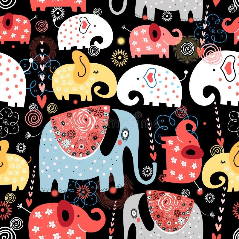 Muster von bunten Elefanten vektor abbildung