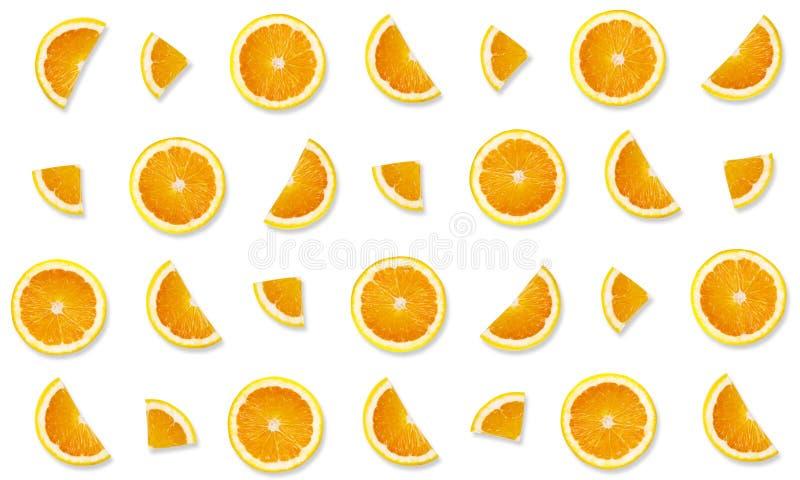 Muster von den Orangen auf weißem Hintergrund stockbild