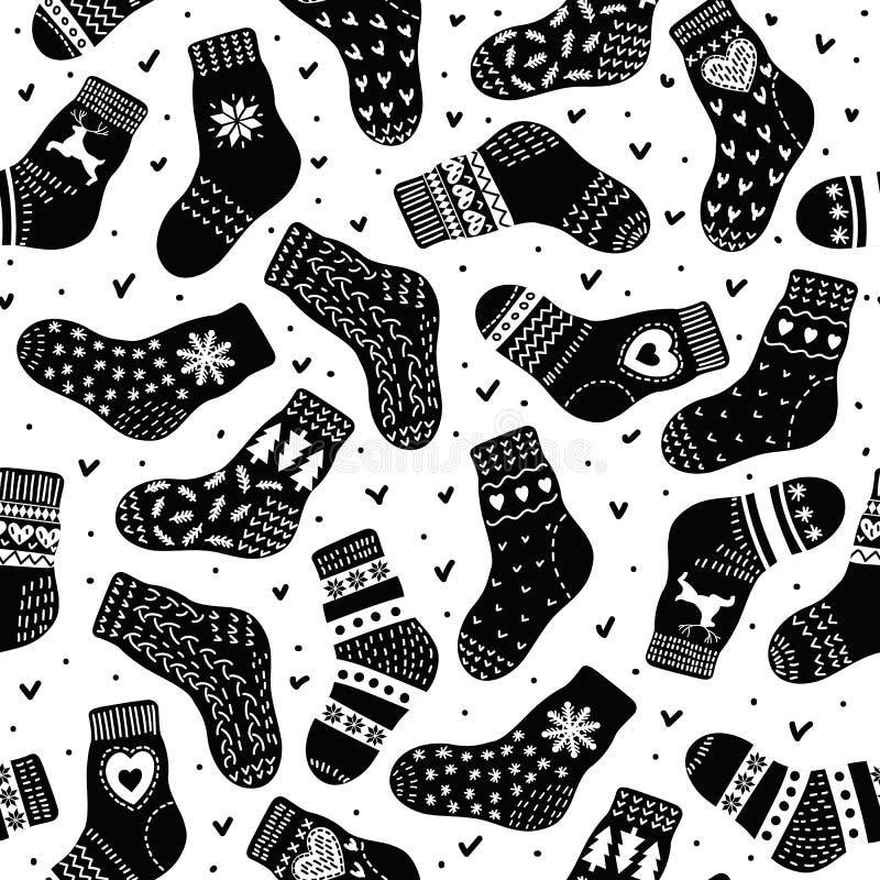 Muster von den Paaren der warmen Socken stock abbildung