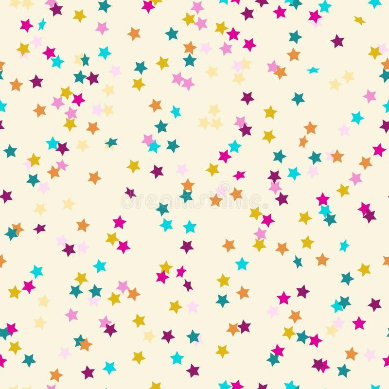 Muster von farbigen Konfettis in Form der Sterne lizenzfreie abbildung