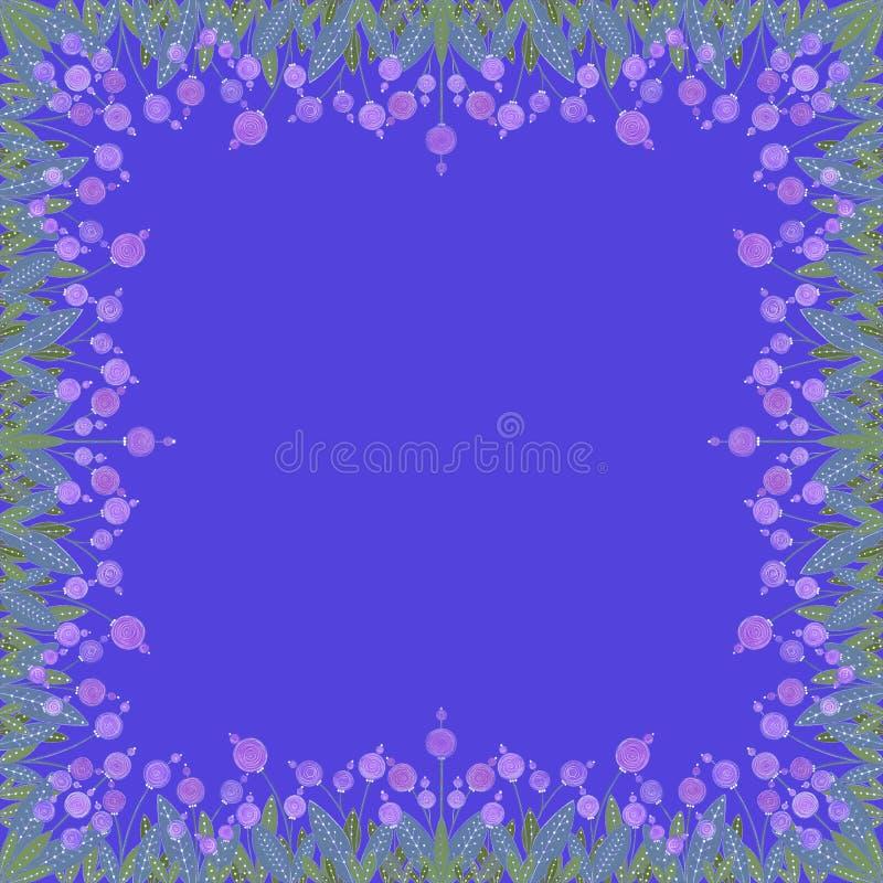 Muster von rosa Blumen und von grünen Blättern auf hellem blauem Hintergrund Dekorativer Rahmen vektor abbildung