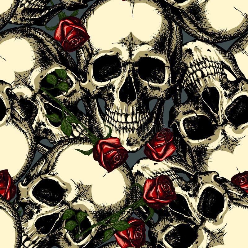Muster von Schädeln mit Rosen stockfoto