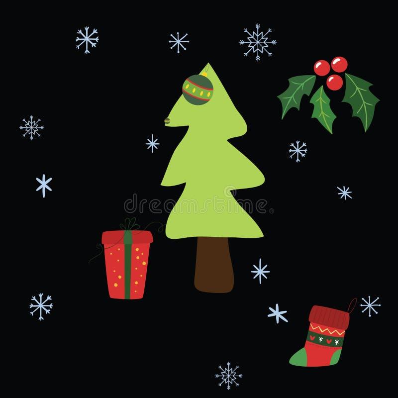 Muster von verschiedenen Stücken am Weihnachtstag stock abbildung
