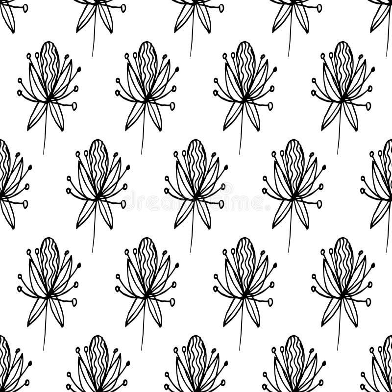 Musterabstraktion blüht schwarze Linien 01 lizenzfreie abbildung