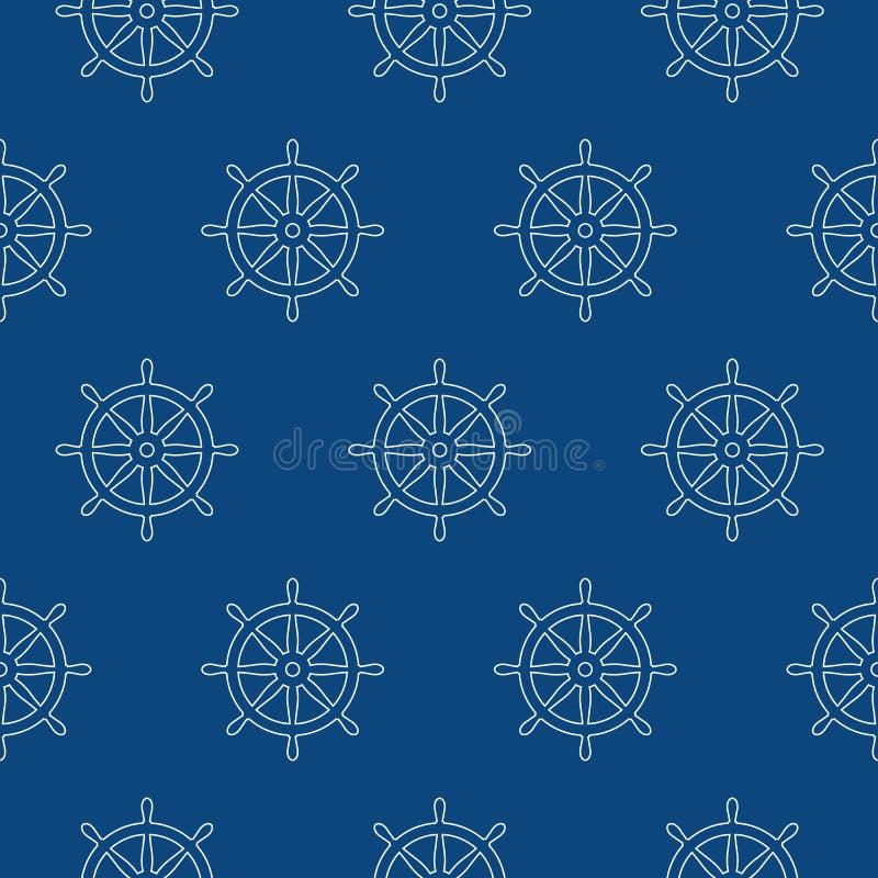 Musterankervektor-Piratenschiffs-Bootes des Helms Seeseeozean des nahtlosen see vektor abbildung