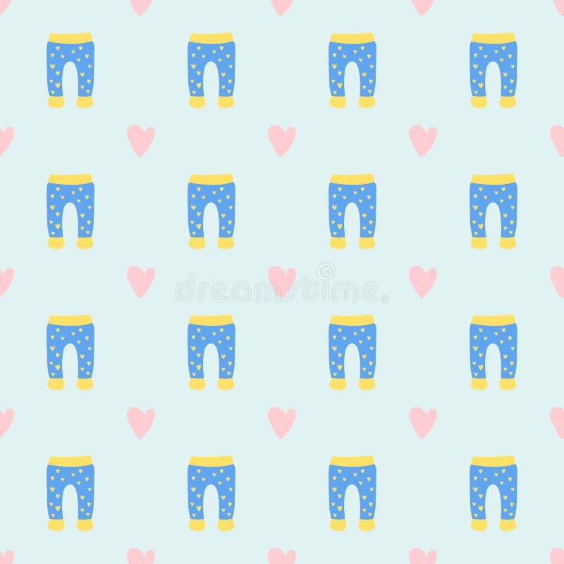 Musterdesigntextilzufälligen Gewebes der Vektorbabykleidung Abnutzungsillustration des nahtlosen bunte Kleiderkinderkleider lizenzfreie abbildung