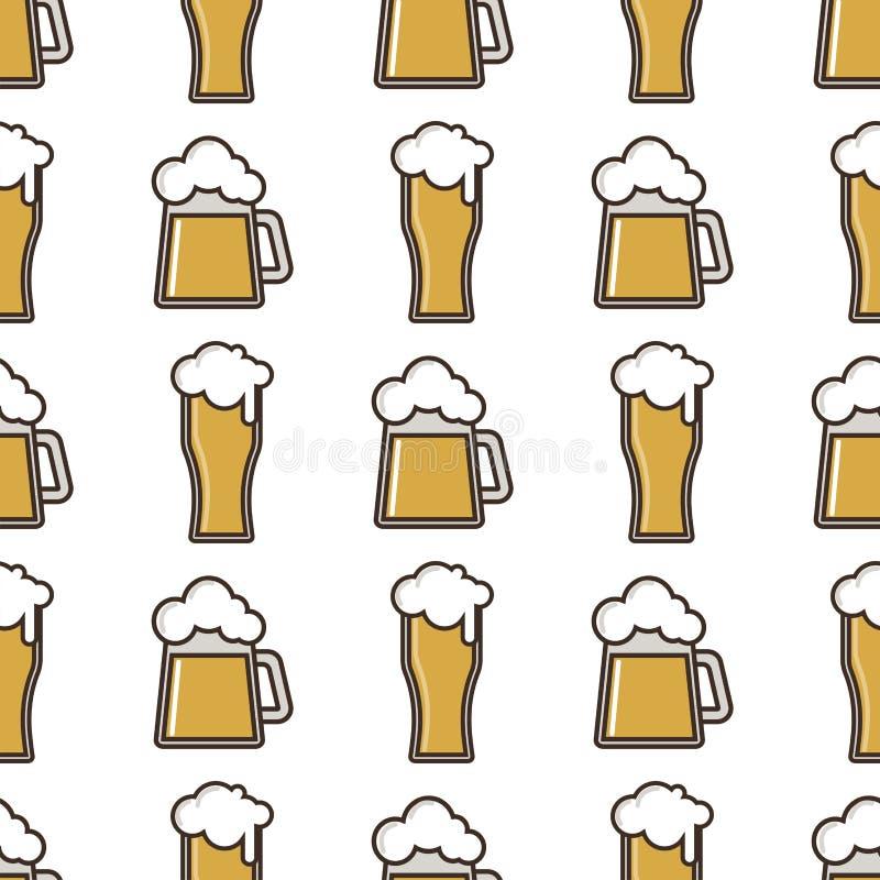 Musterfeiererfrischungs-Brauerei des Bierglas-Vektors oktoberfest Hintergrund der nahtlosen vektor abbildung