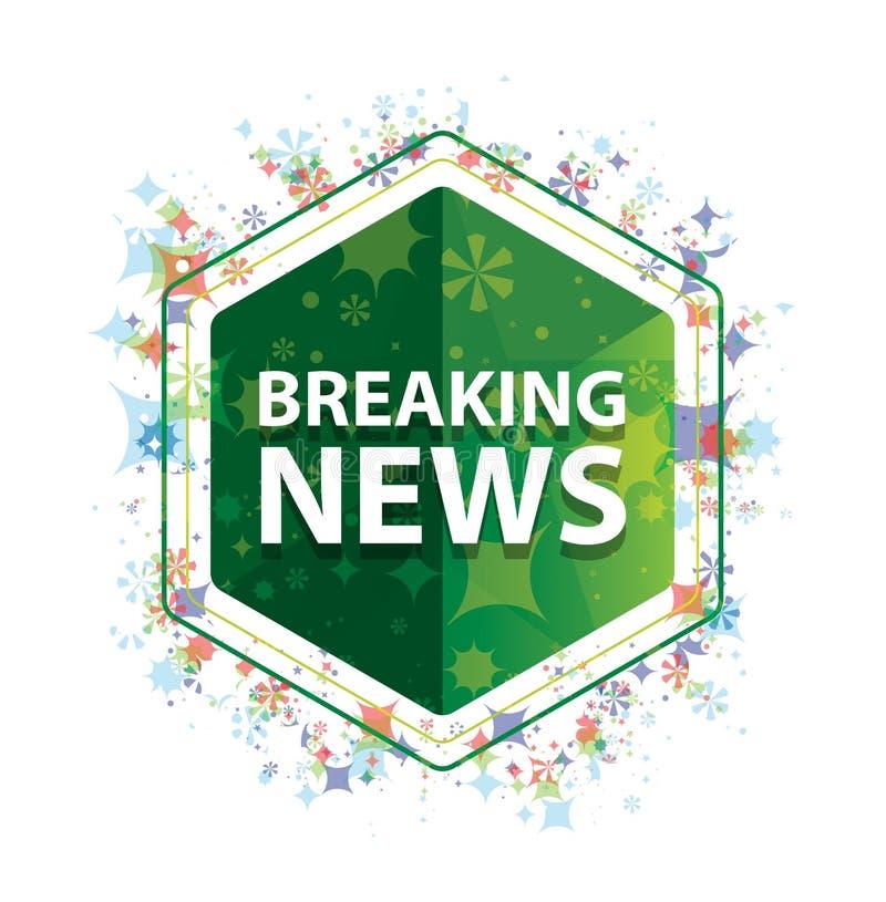 Mustergrün-Hexagonknopf der letzten Nachrichten Blumenbetriebs lizenzfreie abbildung
