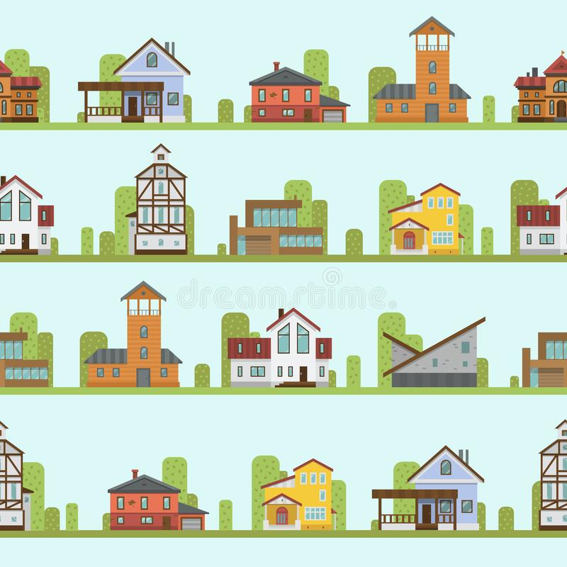 Musterhausausgangsfassadenvektorillustration der unterschiedlichen Stadtstadtgebäudestraßenansichtarchitektur nahtlose stock abbildung