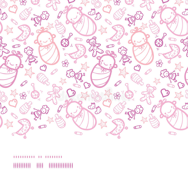 Musterhintergrund der Babys nahtloser horizontale Grenz vektor abbildung