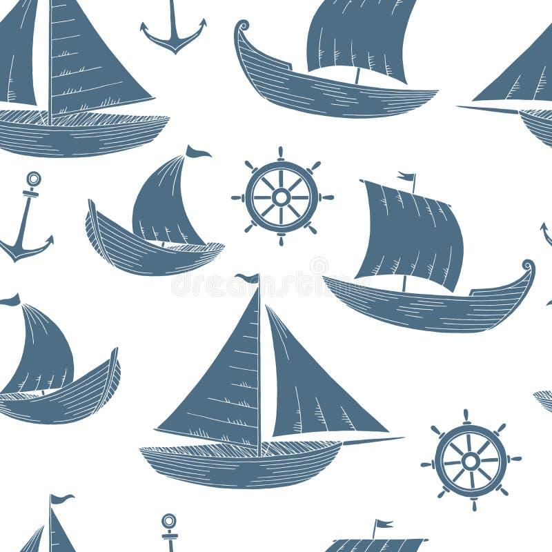 Musterhintergrund-Illustrationsvektor der grafischen blauen Skizze des Bootes Farbnahtloser lizenzfreie abbildung