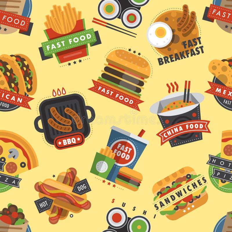 Musterhintergrund-Mahlzeithamburger des Schnellrestaurantproduktes nahtloser stock abbildung
