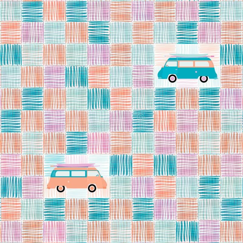 Musterhintergrund - Minipackwagen lizenzfreie abbildung