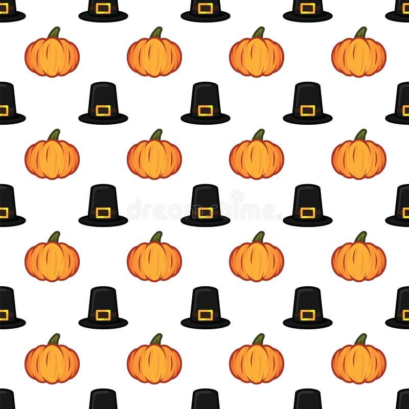 Musterhintergrund orange Kürbises Halloweens nahtloser und des schwarzen Hexenhutes Kürbis- und Hexenhutmuster für Feier stock abbildung