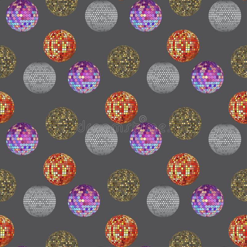Musterhintergrund-Vektorillustration der Discoballdiskothekmusikparteinachtklubtanzausrüstung nahtlose lizenzfreie abbildung