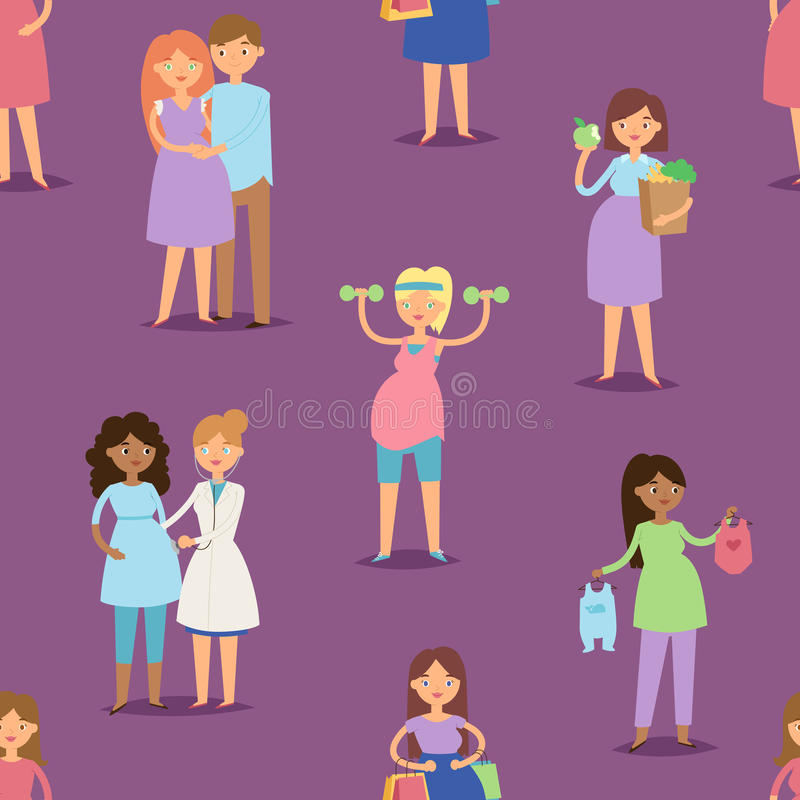 Musterhintergrund-Vektorillustration des Charakters der schwangeren Frau des Schwangerschaftsmutterschaftsmädchens lifeseamless lizenzfreie abbildung