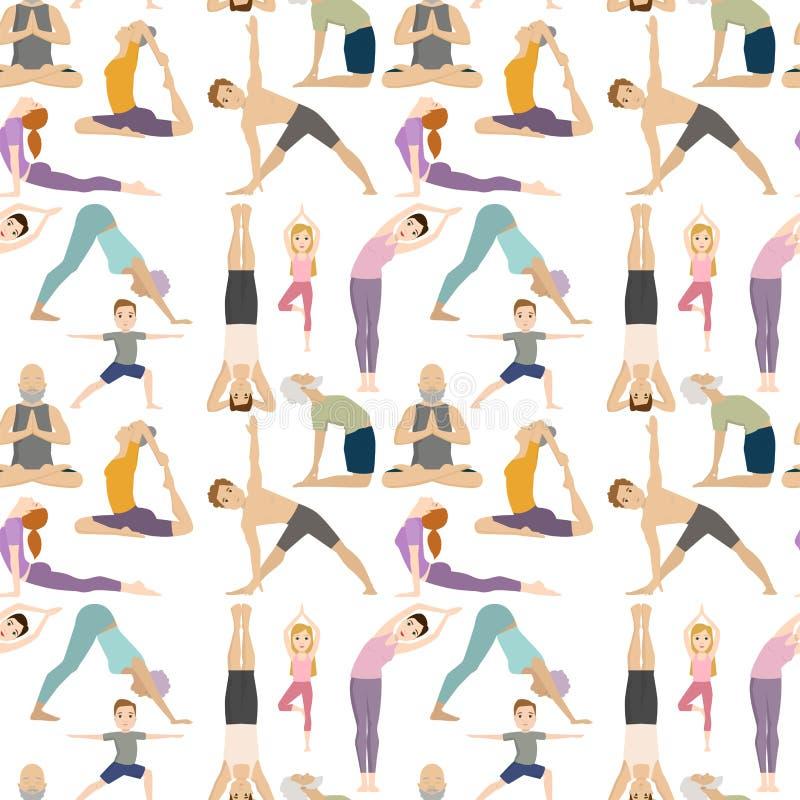 Musterhintergrundkonzentration der YogasitzZeichenklasse-Meditationsleute Lebensstilvektor der nahtlosen menschlicher Friedens lizenzfreie abbildung