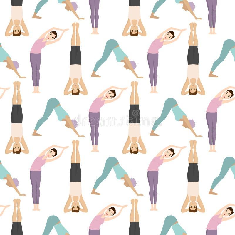 Musterhintergrundkonzentration der YogasitzZeichenklasse-Meditationsleute Lebensstilvektor der nahtlosen menschlicher Friedens vektor abbildung