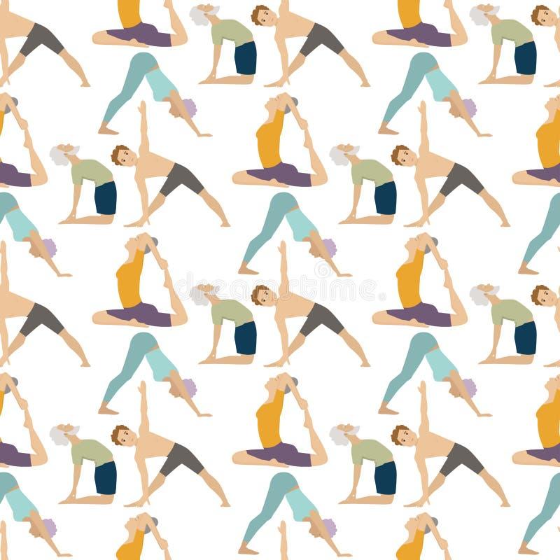Musterhintergrundkonzentration der YogasitzZeichenklasse-Meditationsleute Lebensstilvektor der nahtlosen menschlicher Friedens stock abbildung