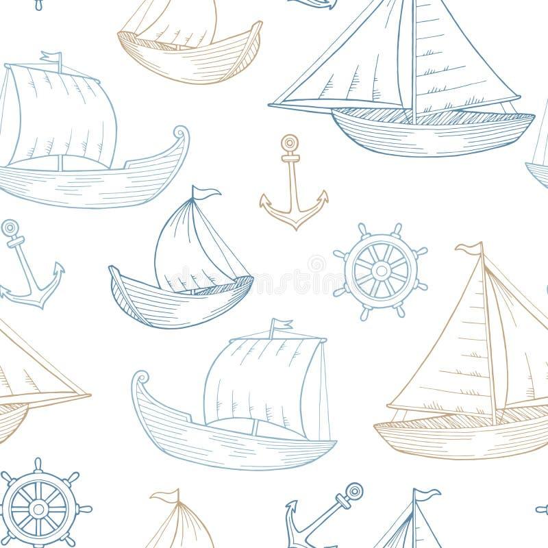 Musterillustration der grafischen des blauen Brauns des Bootes nahtlose Skizze Farb lizenzfreie abbildung