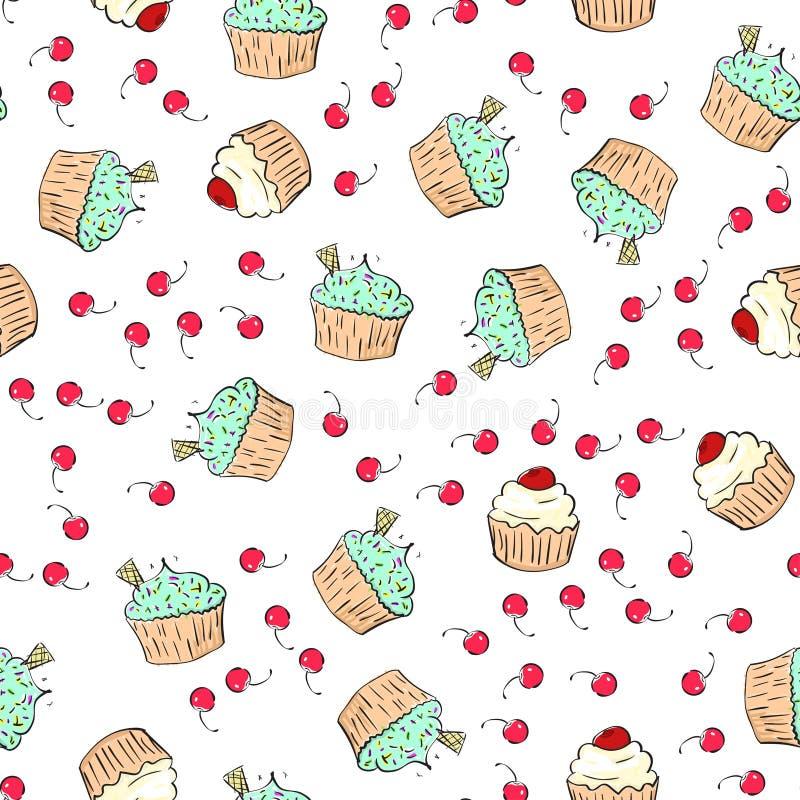 Musterillustration der kleinen Kuchen Nahtloser Druck mit Gebäcksatz Vektorbäckereihintergrund Art des Handabgehobenen betrages vektor abbildung