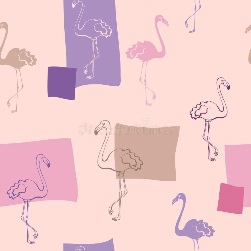 Musterillustration des Rosas der grafischen Kunst des Flamingovogels nahtlose beige violette Farb lizenzfreie abbildung