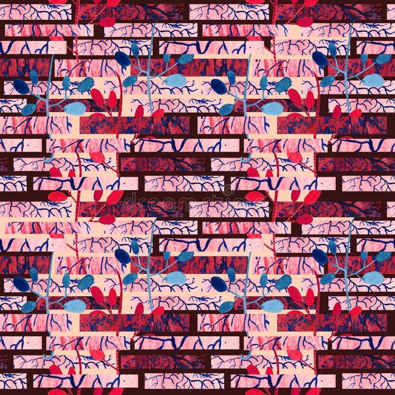 Musterillustrationshintergrund der Wand des roten Backsteins nahtloser mit Blatt lizenzfreie abbildung