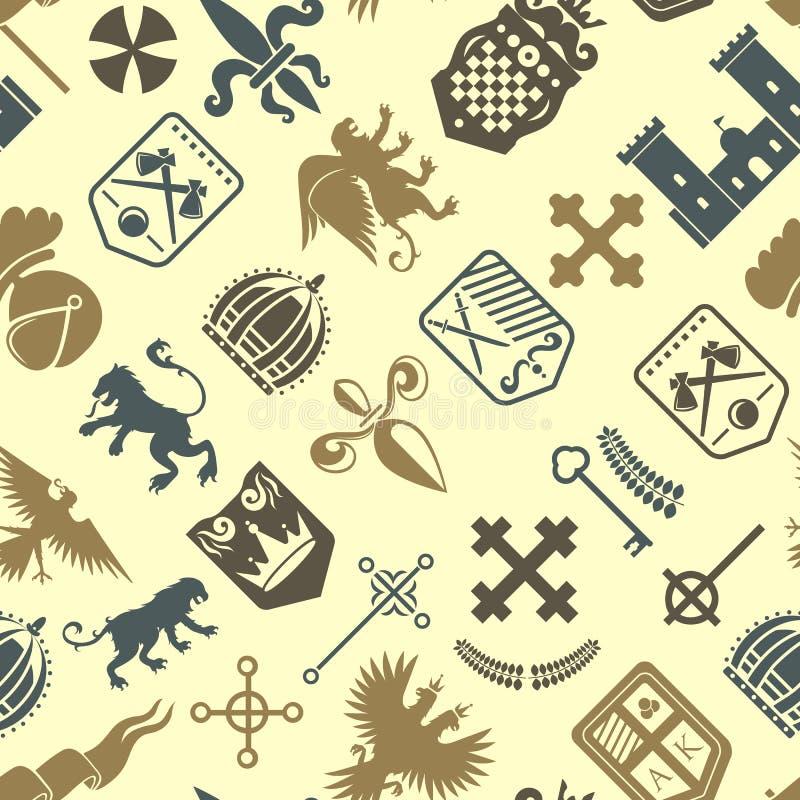 Musterkönigsymbolwappenkunde-Vektorillustration der heraldischen Ritterschattenbildweinlese des Kamms des Löwes königlichen mitte lizenzfreie abbildung