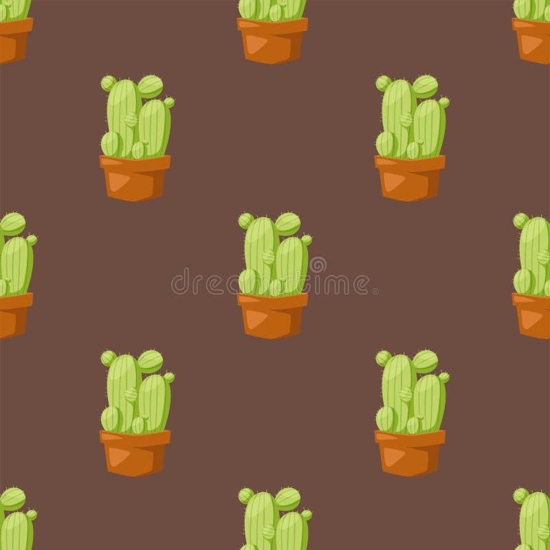 Musterkakteen des Kaktusnaturwüstenblumengrüns Blumenillustration der mexikanischen saftigen nahtlosen tropische Betriebs vektor abbildung