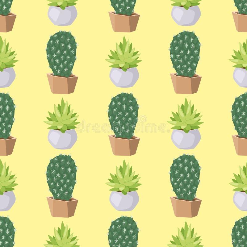 Musterkakteen des Kaktusnaturwüstenblumengrüns Blumenillustration der mexikanischen saftigen nahtlosen tropische Betriebs lizenzfreie abbildung