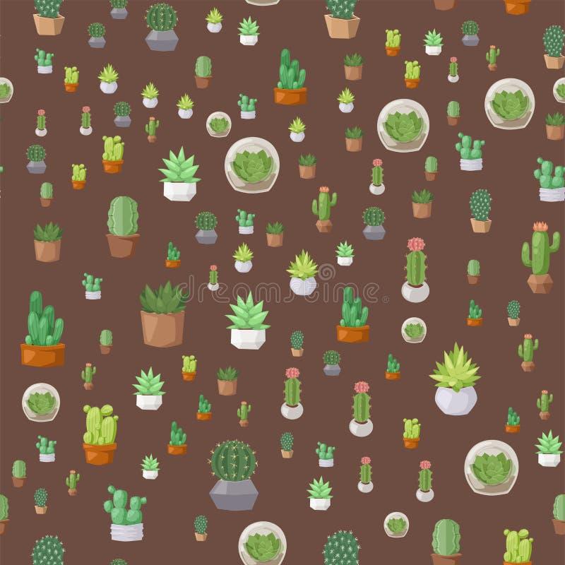Musterkakteen des Kaktusnaturwüstenblumengrüns Blumenvektorillustration der mexikanischen saftigen nahtlosen tropische Betriebs lizenzfreie abbildung
