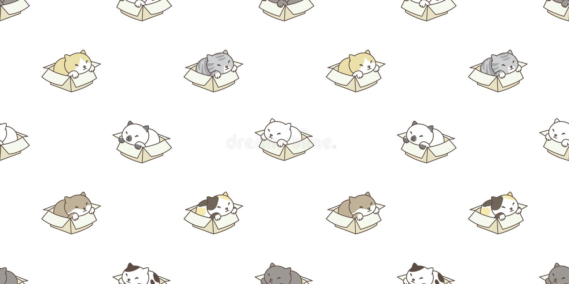Musterkastenkaliko-Kätzchenzucht der Katze lokalisierte nahtlose Tapetenhintergrundhintergrund lizenzfreie abbildung