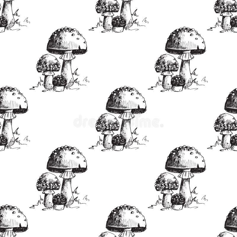 Musterkunstartdesign-Vektorillustration des Wulstlingsfliegenpilzgiftpilz-Ständerpilzes nahtlose vektor abbildung