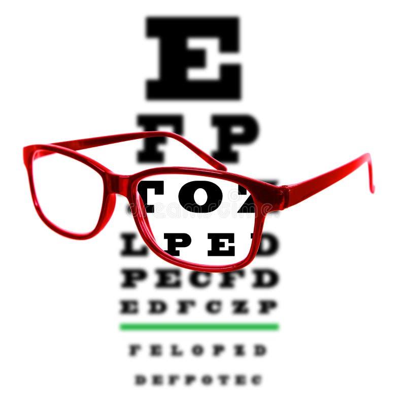 Mustern Sie das Sehtestdiagramm, das durch Augengläser, weißen Hintergrund gesehen wird lizenzfreies stockfoto