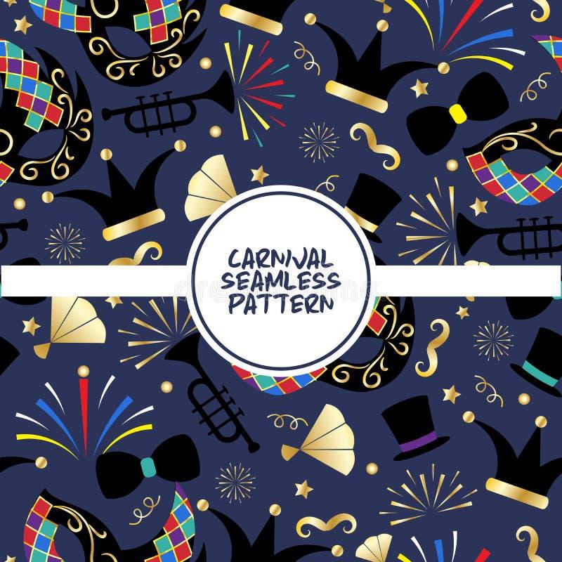 Musterplakat-Vektorillustration des Karnevals nahtlose Karneval und Zirkus Funfairthemamasken, Musikinstrumente stock abbildung