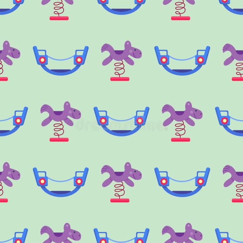 Musterspielparktätigkeit der Kinderspielplatzspaßkindheit flache Vektorillustration der nahtlosen lizenzfreie abbildung