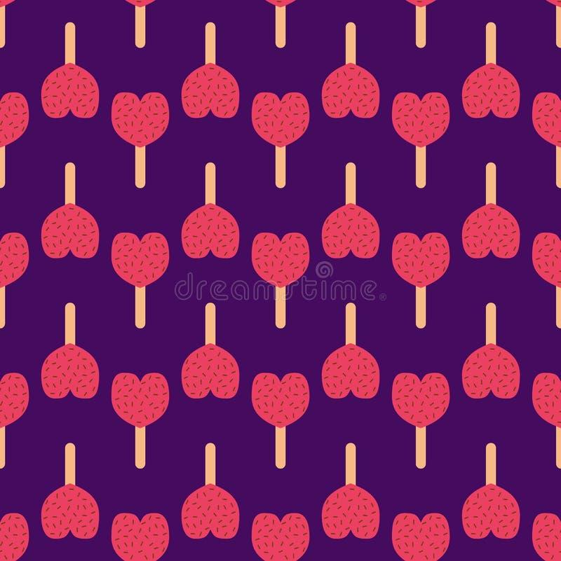 Mustervektorillustrationshintergrundikonenherzkarikatur-Nachtischs der FruchtEiscreme süßer kalter Snack des nahtlosen stock abbildung
