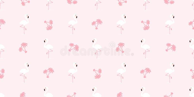 Mustervektorrosa Flamingos des Flamingos nahtloser der Vogel-Palme-Kokosnuss exotischer Sommerwiederholungs-Tapetenfliese tropisc lizenzfreie abbildung