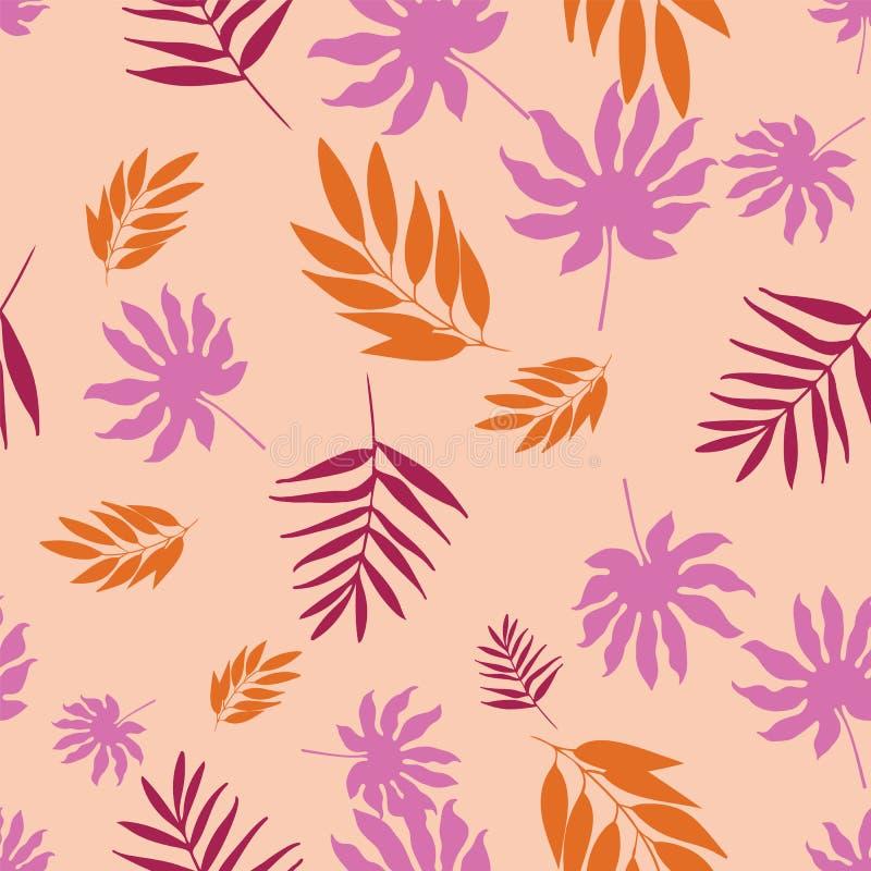 Musterwiederholung der weichen tropischen Pastellblätter des Vektors nahtlose stock abbildung