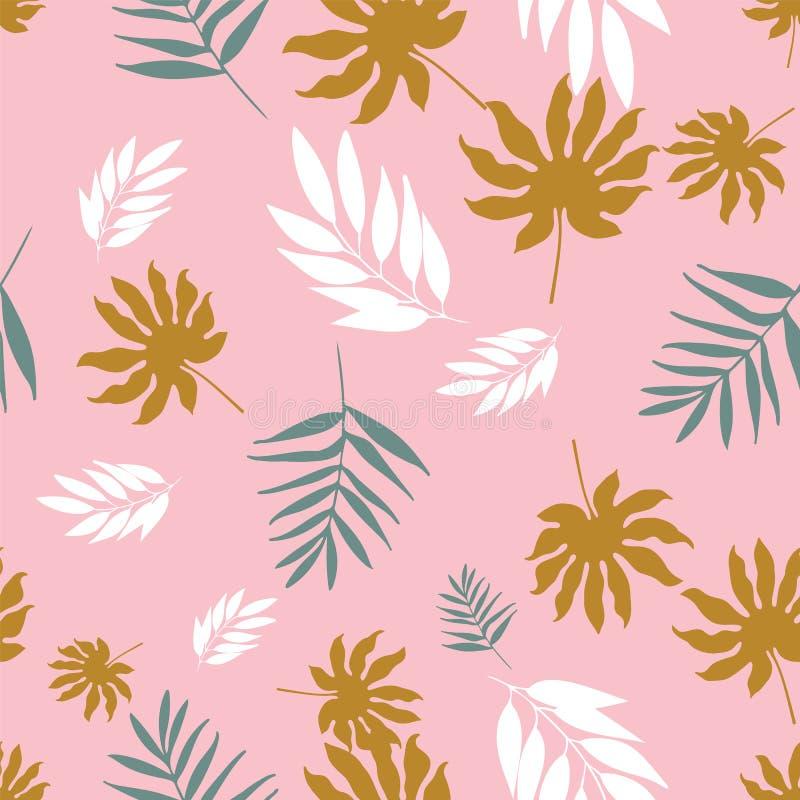 Musterwiederholung der weichen tropischen Pastellblätter des Vektors nahtlose lizenzfreie abbildung