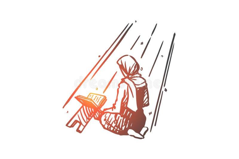 Musulmanes, Islam, religión, árabe, koran, concepto del rezo Vector aislado dibujado mano stock de ilustración