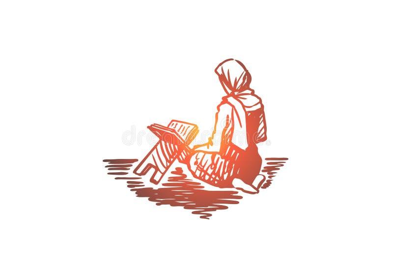 Musulmanes, Islam, religión, árabe, muchacha, koran, concepto del rezo Vector aislado dibujado mano ilustración del vector