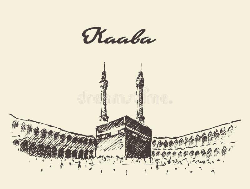 Musulmanes santos de Kaaba Mecca Saudi Arabia dibujados stock de ilustración